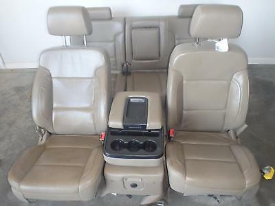 14-16 GMC SIERRA 1500 FRONT SEATS W/ CONSOLE/REAR TAN LEATHER ELECTRIC SILVERADO