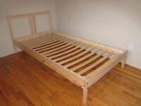 Ikea Fjellse Single Bed Pine Frame with wood slats and fittings
