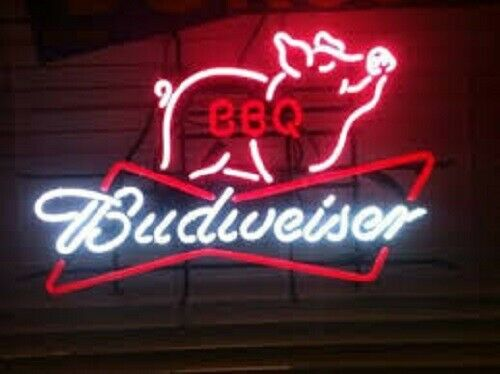 """New Budweiser BBQ Pig Neon Light Sign 20""""x16"""" Beer Cave Gift"""