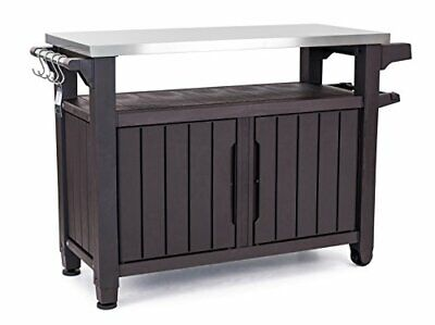 Keter Unity XL Portable Outdoor Table with Storage Cabinet and Espresso Brown