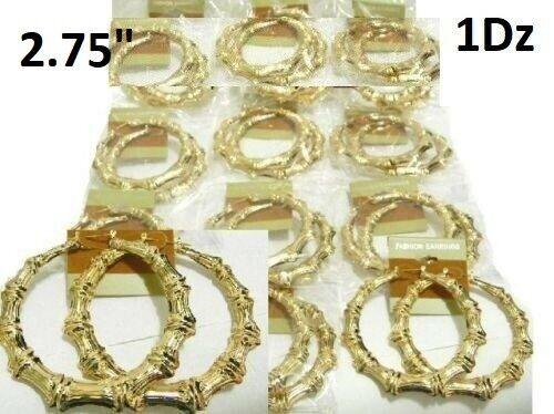 "2.75"" Wholesale Lot 12 1 Dz Earrings Gold Hip Hop Bamboo Statement Hoop Circle"