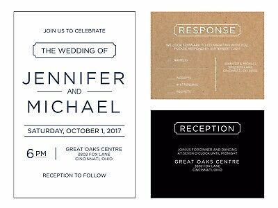 Wedding Invitations Simple Text Any Colors 50 Invitations & RSVP - Simple Wedding Invitation