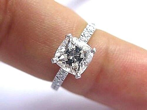 14K WG Real 1.20 Ct Cushion Cut Diamond Engagement Ring D,VS1 GIA Certified