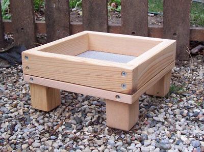 Mini Size Cedar Ground Platform Bird Feeder  w/ Screen