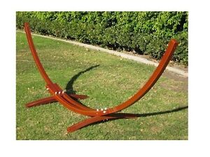 WOODEN CURVED HAMMOCK STAND ARC PINE WOOD w/ COTTON HAMMOCK