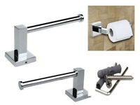 Bathroom Accessory Square Chrome Wall Mounted Toilet Tissue Paper Roll Holder