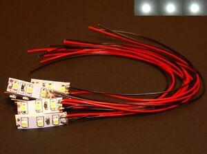 S033 - 10 Stück Mini LED Hausbeleuchtung mit Kabel weiß 8-16V Beleuchtung Häuser
