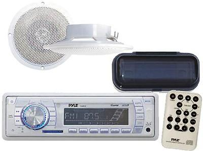 """Salt-water Boat MP3 USB AUX Radio Waterproof Stereo with 4"""" Speakers + Stereo Cover"""
