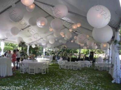 """6X 12X Round White Paper Lantern 8"""",10"""",12"""",16"""" Wedding Party with Led Decor"""