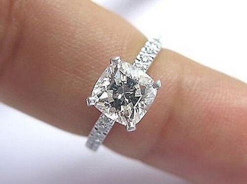1.20 Ct Cushion Cut Diamond Engagement Ring H,Internally Flawless Center GIA