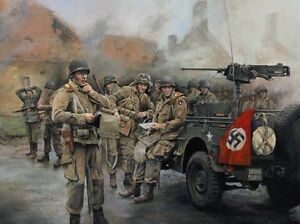 101st Airborne D-Day Normandy Band of Brothers print signed by Easy Company vets