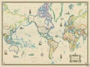 Large World Map EBay - Large wall maps for sale