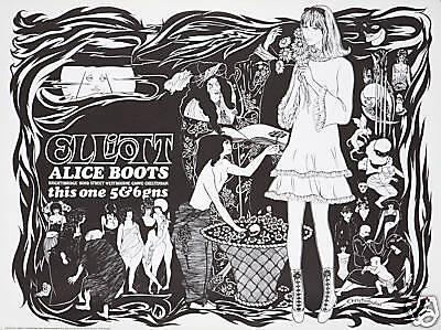 Original Vintage Poster Alice Boots Aubrey Beardsley Art Nouveau Mod Fashion 60s