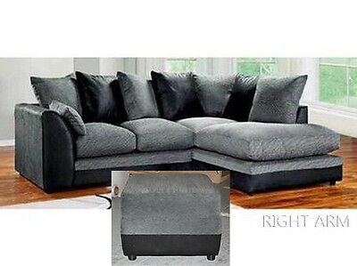 Dylan Corner Group Sofa in Black and Grey, Right or Left & Matching Footstool