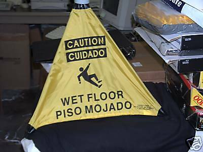 Handy Cone Floor Signs Bi-lingual 2 Count Caution Wet Floor Sign