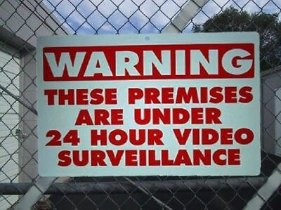 Warning 24 Hour Video Surveillance Cameras Recording System Waterproof Yard Sign