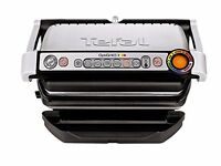 NEW - Tefal Stainless Steel OptiGrill Plus Grill with Thickness and Temperature Measurement, 2000W