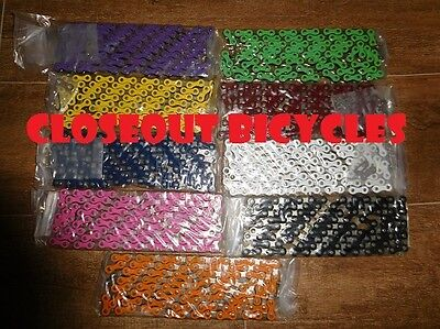 Red & Silver 2 Tone Fixie Bicycle Chain 1/2