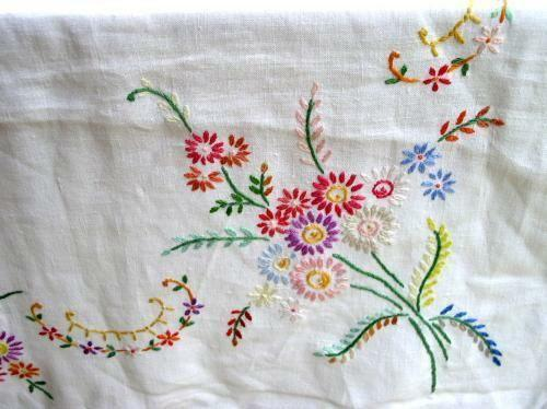 Vintage Hand Embroidered Tablecloth Ebay