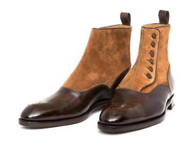 High Button Boots - MENS HANDMADE BROWN SUEDE MIX LEATHER SOLE BOOTS ANKLE HIGH BUTTON BOOTS