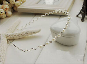 Lovely Girls Womens Pearl Rhinestone Hairband Headband - New