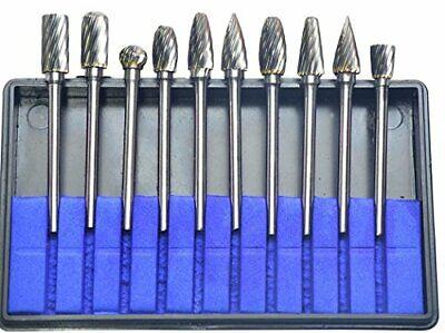 10pcs Single Cut Tungsten Carbide Rotary Burr Set 18 Shank For Die Grinder