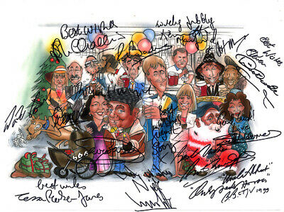 Only Fools and Horses Nags Head Whole Cast Signed Artwork POSTER Pre Print A3