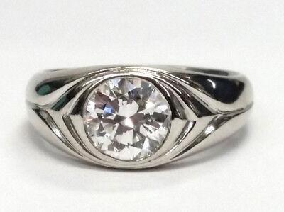 1.50 carat Round Diamond Engagement Solitaire Mens Platinum Ring GIA F VS2