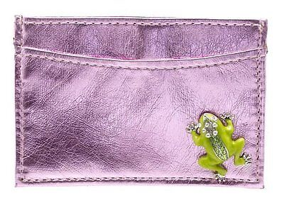 Spring Street Pink Card Holder With Crystal Frog
