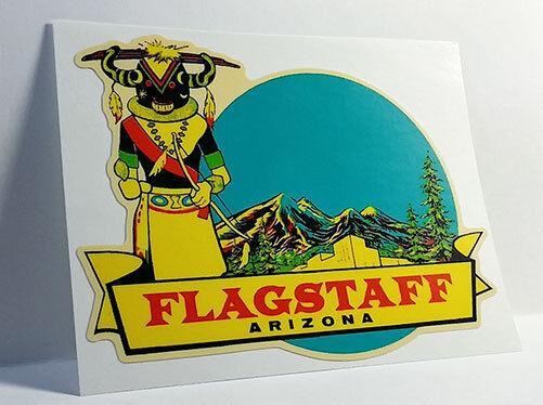 FLAGSTAFF ARIZONA Vintage Style Travel Decal, Vinyl Sticker, Luggage Label