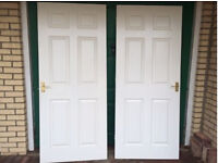 Two 6 Panel White Interior Internal Door with Gold Handles