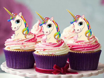 12 STAND UP LARGER RAINBOW UNICORN HORN FAIRY EDIBLE CUPCAKE CAKE IMAGES - Rainbow Cupcake Stand