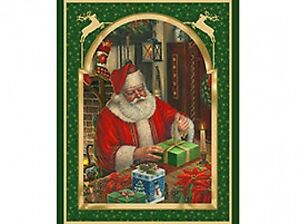Father Christmas Santa Cotton Quilting Fabric Panel Wall Hanging