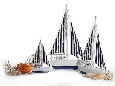 Deko Segelboot gestreift 24 cm Holz Boot Schiff maritim Meer Sommerdeko  online kaufen