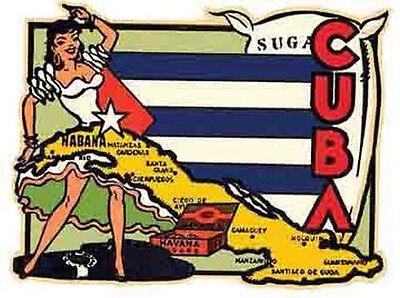 HAVANA  CUBA     Vintage 1950's Style   Travel Decal Sticker (1950's Havana Fashion)