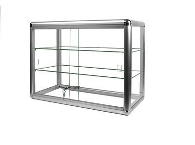 Nib Silver Color Trim Counter Top Glass Showcase 24w X 12d X 18h