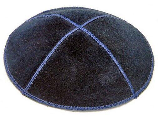 BLUE LEATHER KIPPAH - jewish hat yarmulke yamaka yarmulka cap
