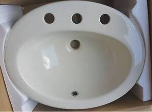 Ivory Oval 3 Tap Hole Inset Basins - New Stock Paradise Campbelltown Area Preview