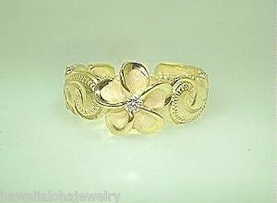 8mm Silver Hawaiian 14k Yellow Gold Brush Satin Plumeria CZ Heritage Toe Ring #2
