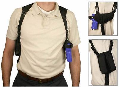 NcStar BLACK Ambidextrous Pistol Shoulder Holster w/ Double Magazine (Black Holster)