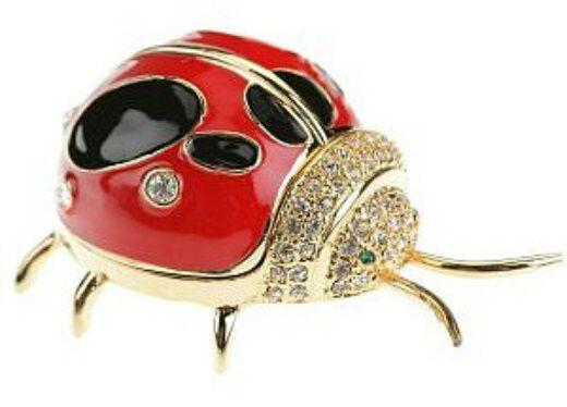 Ladybug 24K Enameled Trinket Box Austrian Crystals Pill Jewelery Small Lady Bug