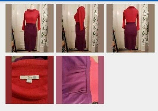 Boden Fine Wool Jackie O Purple And Orange Colour Block Dress Small