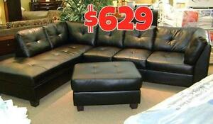 3PCS BONDED LEATHER SECTIONAL WITH FREE STORAGE OTTOMAN $629