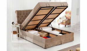 SET DE LIT AVEC RANGEMENT CUIR / BED SET WITH LARGE STORAGE