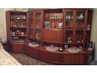 G Plan teak glass display and bar wall units