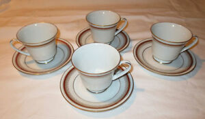 Noritake Doral Maroon set of 4 teacups and saucers