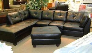 SALE 3PCS BONDED LEATHER SECTIONAL WITH FREE STORAGE OTTOMAN $529