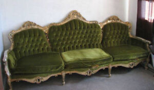 Long Green Velvet Victorian Diamond Tufted Back Sofa -Negotiable