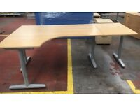 Large Corner-fitting office desk with extension in good condition (7)