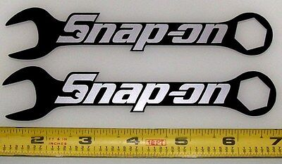"""Snap On Logo on Wrenches! Silver Met on Black! HQ Vinyl Sticker Decals 6x1.2""""/2!"""